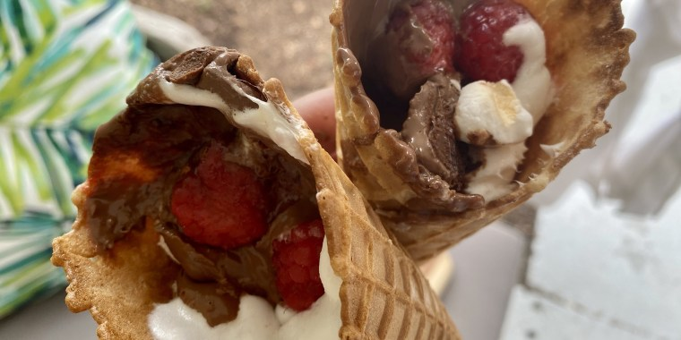 Campfire cones combine s'mores fillings and waffle cones, heated over a campfire — or even in your air fryer.
