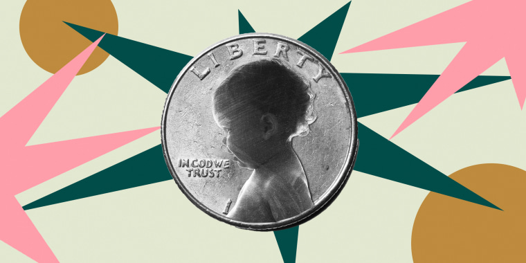 Illustration of coin with the face of a baby