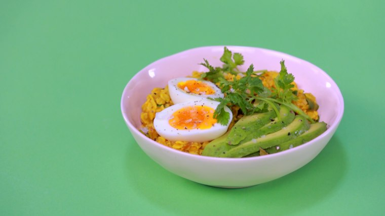 This fragrant, savory oatmeal topped with creamy avocado and egg is a lunchtime favorite.