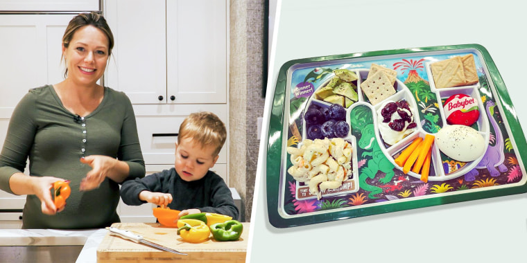 Illustration of Dylan Dreyer and son Calvin cooking in their home and a tray filled with snacks