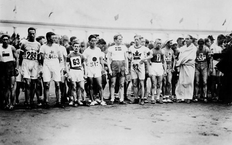 The athletes assemble for the start of the marathon at the 1920 Summer Olympics in Antwerp, Belgium, 1920.