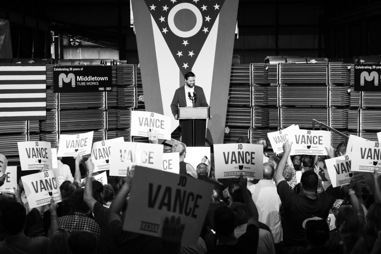 """Image: JD Vance, the venture capitalist and author of \""""Hillbilly Elegy\"""", during a rally on July 1, 2021, in Middletown, Ohio"""