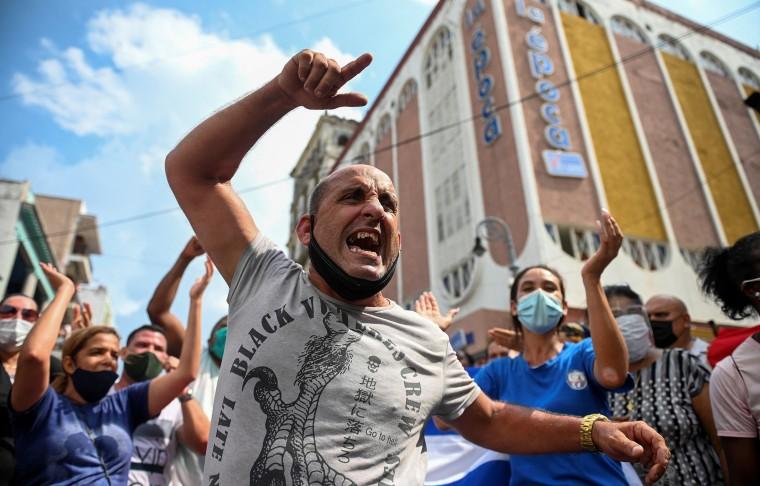Image: Protestors in Havana.
