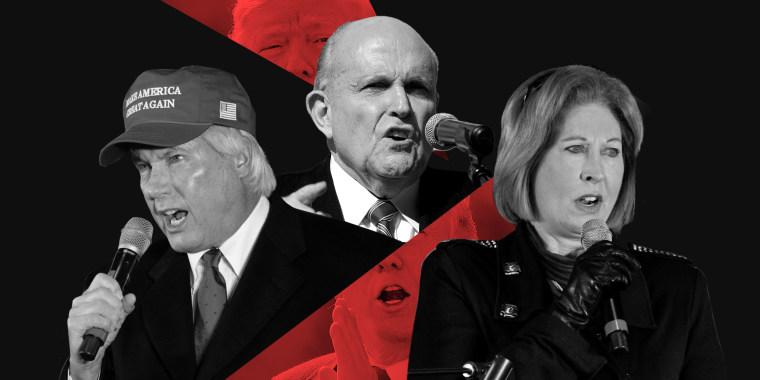 Photo illustration: Lin Wood, Rudy Giuliani, Donald Trump, Sidney Powell.