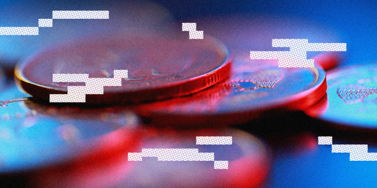 Photo illustration: Image of Russian rubles with white glitches over it.