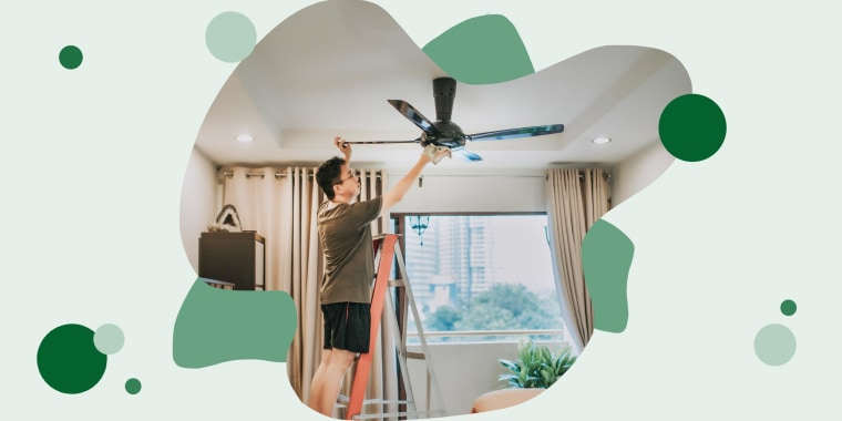 A man cleaning ceiling fan at home. Here are the best ceiling fans for bedrooms, living rooms and outdoors to keep you cool this summer. Shop brands like Hunter, Wayfair, Honeywell and more.