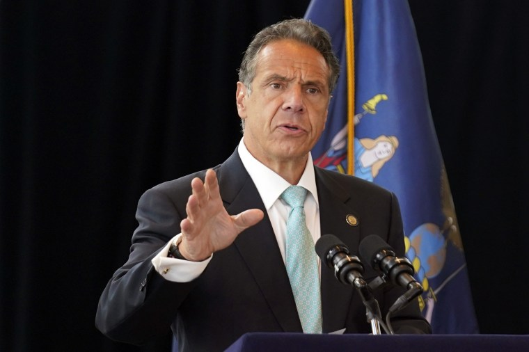 New York Gov. Andrew Cuomo speaks about the lifting of Covid-19 restrictions in Manhattan on June 15, 2021.