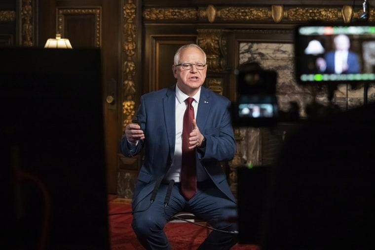 Minnesota Gov. Tim Walz speaks at the State Capitol on November 18, 2020, in St. Paul, Minn.