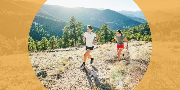 Wide shot of female friends trail running in mountains on sunny afternoon. Your guide to the best anti-chafing creams, powders and other products for you to try this summer to treat and prevent chafing, according to dermatologists.