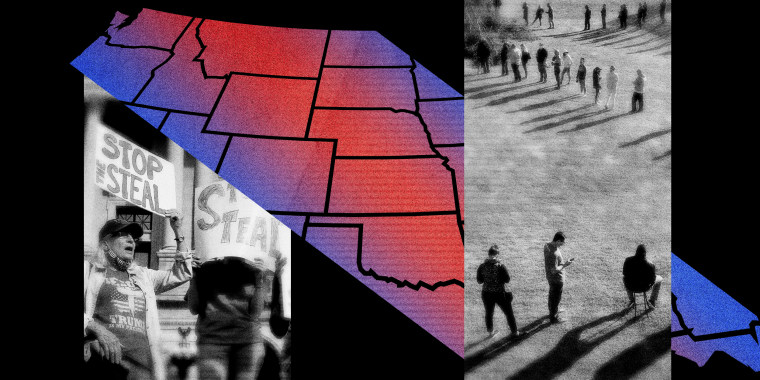 Illustration showing a map of the United States with blue and red and a photo of protesters after the 2020 election.