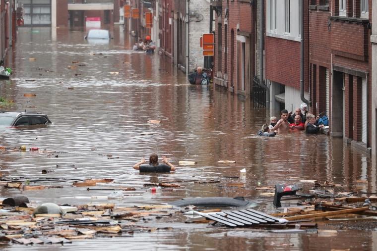 A flooded street in Liege, on July 15, 2021.
