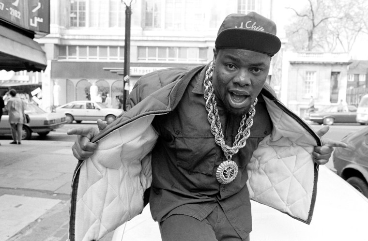 Image: Biz Markie, near the offices Warner Bros. Records, owners of his record label, Cold Chillin', in Kensington, London, on April 6, 1988.