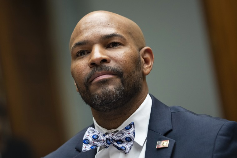 Former U.S. Surgeon General Dr. Jerome Adams testifies during a Select Subcommittee on the Coronavirus Crisis hearing about how to counter vaccine hesitancy on Capitol Hill on July 1, 2021.