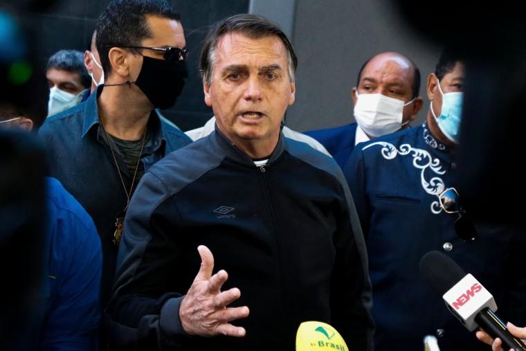 Brazilian President Jair Bolsonaro speaks at the Vila Nova Star Hospital in Sao Paulo on July 18, 2021.