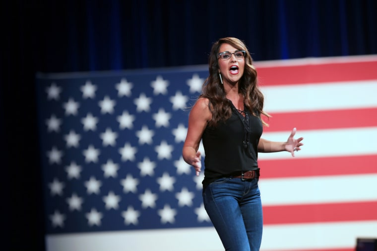 Rep. Lauren Boebert, R-Colo., speaks during the Conservative Political Action Conference in Dallas on July 10, 2021.