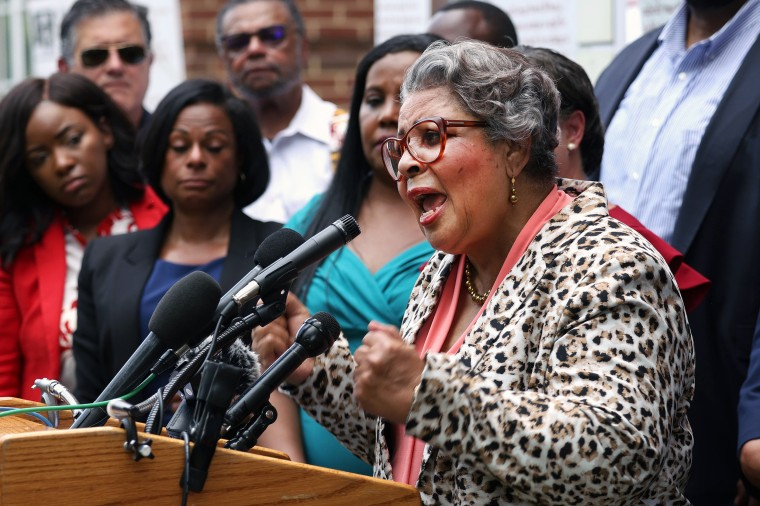 Texas State Rep. Senfronia Thompson speaks  about voting rights alongside state representatives from Texas, Maryland and Virginia on July 16, 2021, in Alexandria, Va.