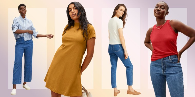 Illustration of four women wearing different items from Everlane that are on sale this summer