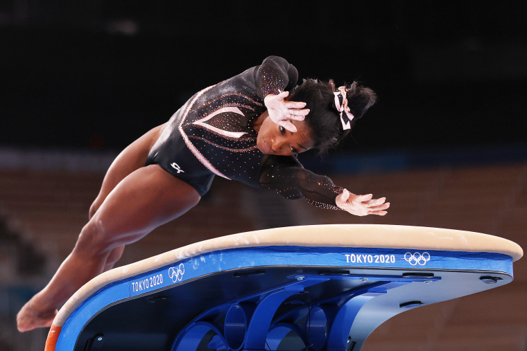 Simone Biles during podium training at Tokyo Olympics