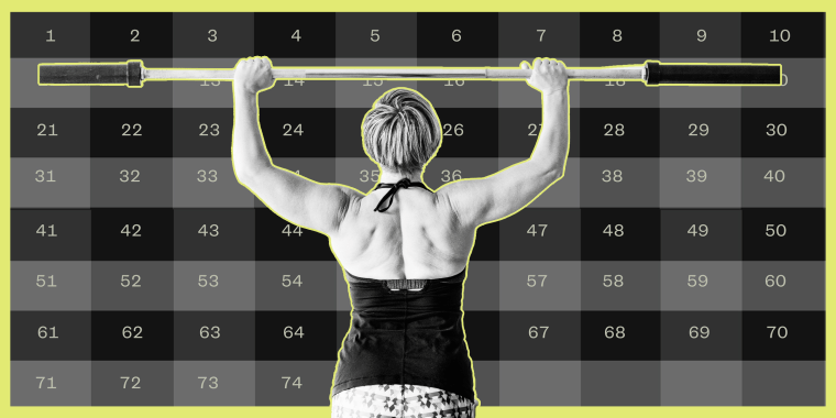 Illustration of woman lifting weights with a calendar behind her