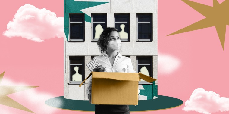 Illustration of woman resigning in front of office building