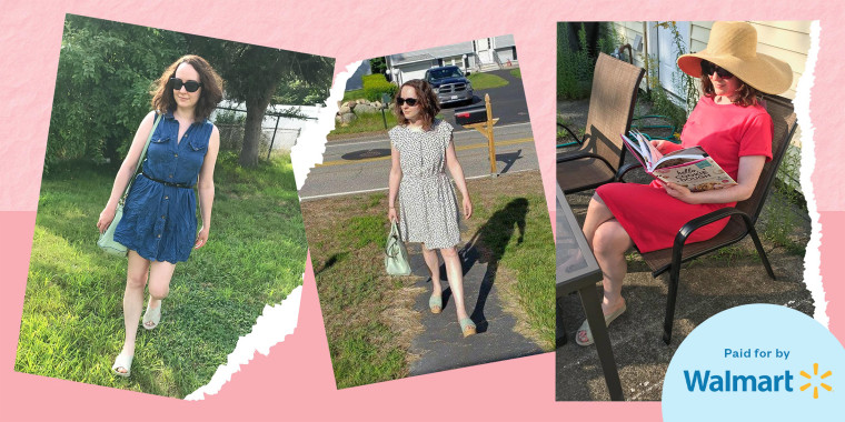 Illustration of Chrissy Callahan wearing three different styles of dresses from Walmart