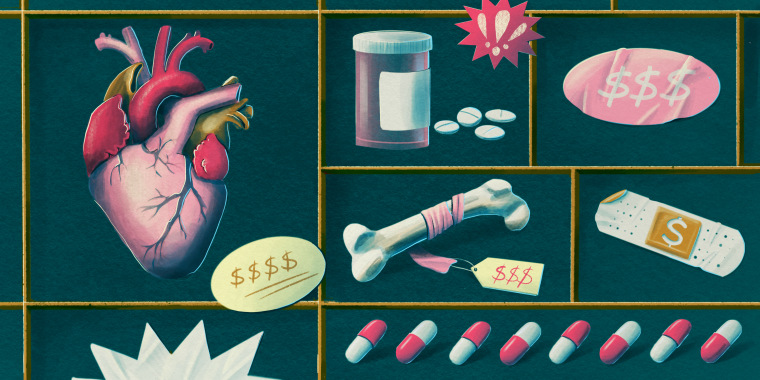 Drawn illustration of medical instruments and medicines next to money signs