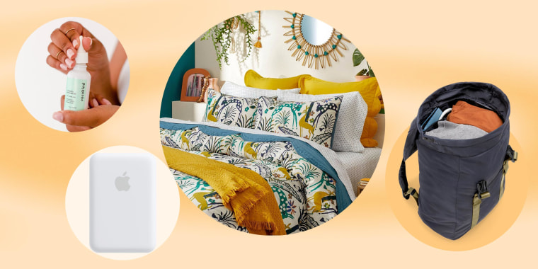 Illustration of a patterned bedding, Cocokind serum, the new Away Travel backpack and the Apple battery pack
