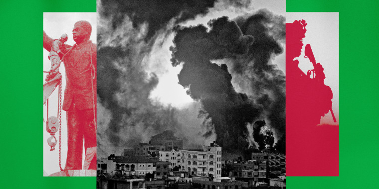 Illustration of photos that show the toppling of a statue of Saddam Hussein in Iraq and a fire following an Israeli airstrike in the Gaza Strip in 2021, and U.S. forces in Afghanistan.
