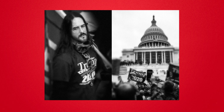 Illustration of Paul Allard Hodgkins and a photo of the riot at the Capitol on Jan. 6, 2021.