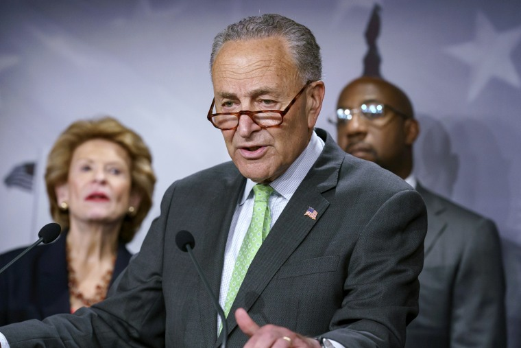 Senate Majority Leader Chuck Schumer at the Capitol on July 15, 2021.