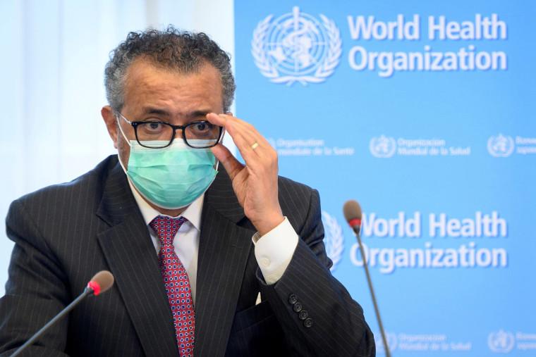 Image: World Health Organization Director General Tedros Adhanom Ghebreyesus speaks during a bilateral meeting in Geneva, Switzerland.