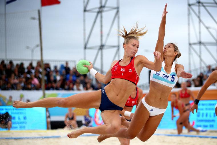 Image: Norway's Marielle Mathisen plays a shot during the 2018 Women's Beach Handball World Cup Final against Greece in Kazan, Russia.