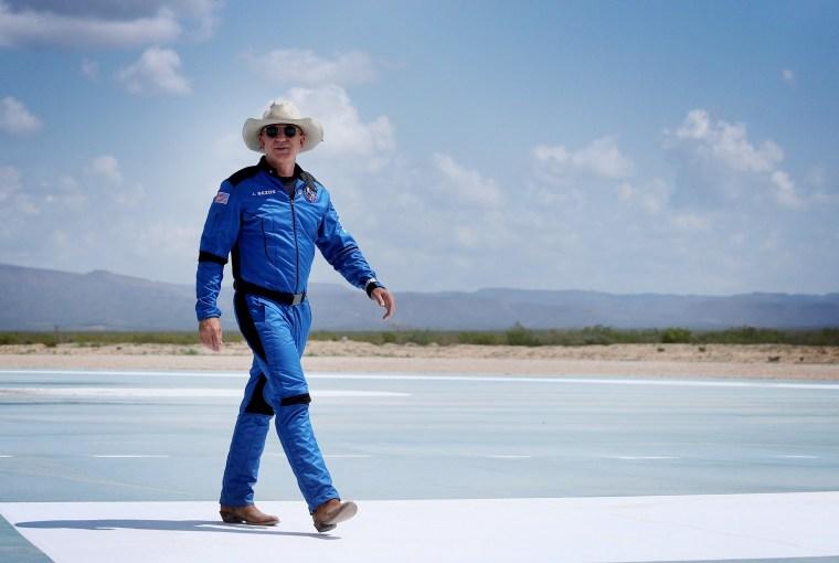 Image: Jeff Bezos near the Blue Origin New Shepard in Van Horn, Texas, on July 20, 2021.