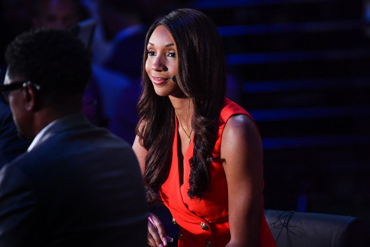 ESPN Analyst Maria Taylor talks before the game between the Milwaukee Bucks and Phoenix Suns during Game One of the 2021 NBA Finals on July 6, 2021 at Phoenix Suns Arena in Phoenix.
