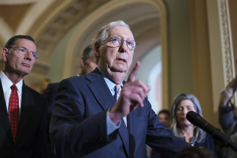 Senate Minority Leader Mitch McConnell, R-Ky., speaks at the Capitol on July 13, 2021.