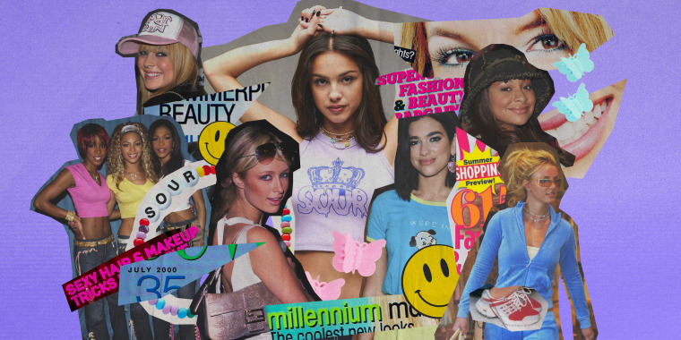 Illustration of a collage of early 2000s fashion trends on celebrities like Olivia Rodrigo, Paris Hilton, Britney Spears, Destiny's Child, Lindsay Lohan and Raven Symone.