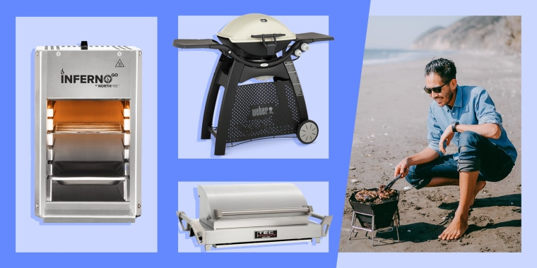 Image of a Northfire Portable InfernoGo Propane Grill, a TEC G-Sport Fr Portable Infrared Gas Grill, a Weber Q 3200 Gas Grill and a man using a grill on the beach. Need the best portable gas grill for a killer summer barbecue? Look no further. Shop top-ra