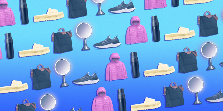 Illustration of a jacket, sunscreen, ugg slippers, bag, mirror, sneaker and water bottle