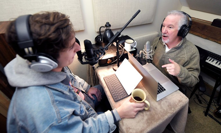 Image: Phil Valentine records a new podcast with his son, Campbell, in their cabin in Brentwood, Tenn. on March 7, 2019.