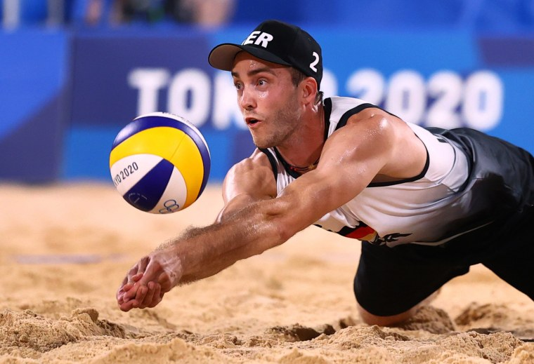 Germany's Clemens Wickler goes to bump the volleyball during a match against Italy at the Olympics in Tokyo on July 25, 2021.