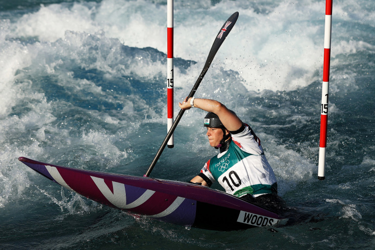 Kimberley Woods of Team Great Britain competes in the Women's Kayak Slalom Heats 2nd Run on day two of the Tokyo Games on July 25, 2021.