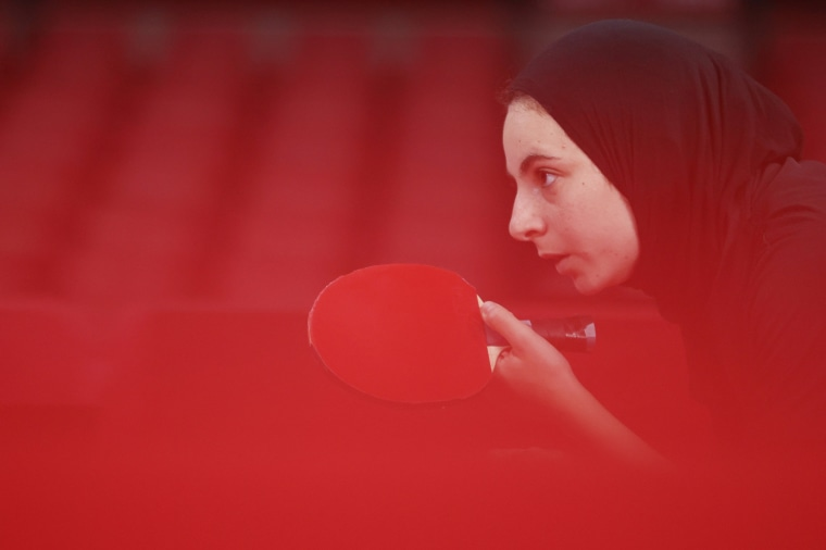 Dina Meshref of Team Egypt competes during her Women's Singles second round match on day two of the Tokyo Games on July 25, 2021.