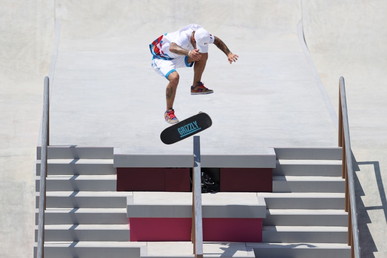 Aurelien Giraud of Team France competes at the Skateboarding Men's Street Finals on day two of the Tokyo Games.