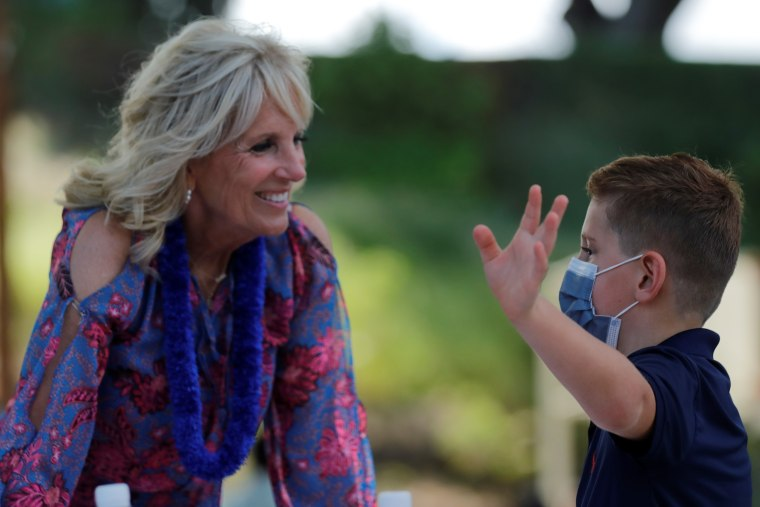 First lady Dr. Jill Biden spoke to military families in Hawaii on her way home from the Olympics in Tokyo.