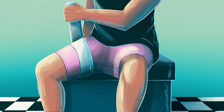 Drawn illustration of person sitting down tying a blood restraining band around their leg