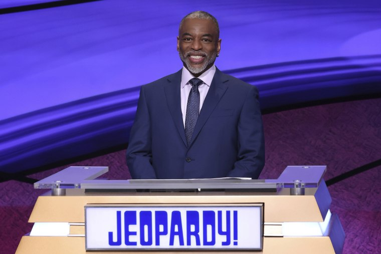 """""""Jeopardy!"""" guest host LeVar Burton on the set of the game show."""