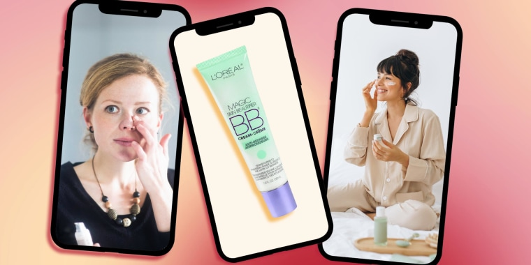 Illustration of three phones with images of two Woman putting on lotion and the L'Oreal BB cream