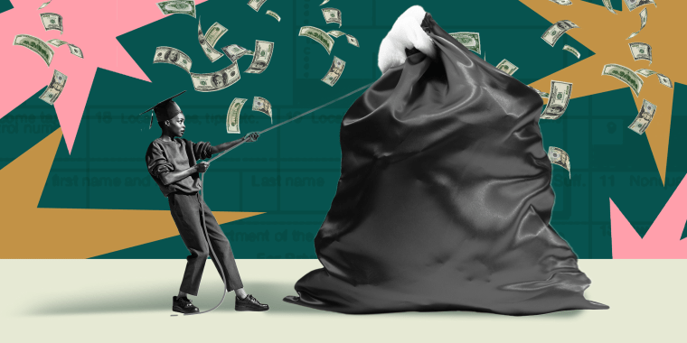 Illustration of young woman dragging a bag of students loans.