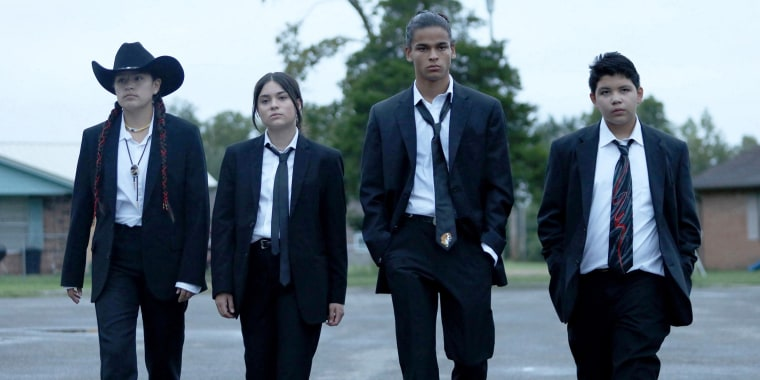 """From left to right, actors Paulina Alexis, Devery Jacobs, D'Pharaoh Woon-A-Tai and Lane Factor star in a new comedy on FX on Hulu called """"Reservation Dogs."""""""