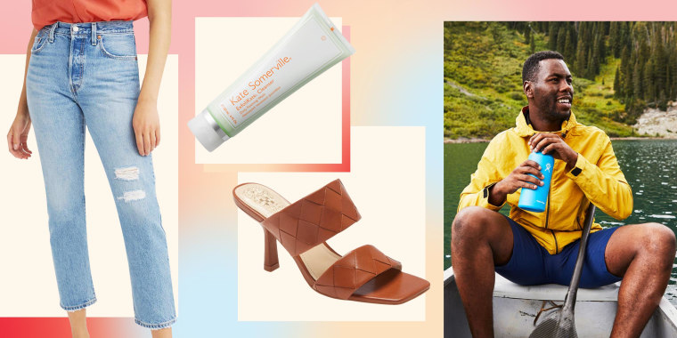 Illustration of a Woman wearing the Levi's 501(R) High Waist Straight Leg Jeans, Man holding a Hydro Flask, Vince Camuto Candialia Sandal and Kate Somerville ExfoliKate Cleanser Daily Foaming Wash